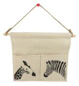 Linen Wall Door Closet Storage Hanging Bag Organiser Zebra Giraffe 11.5 x 8.75 Khaki Black