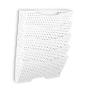 Wall Mount File Organiser by Fasthomegoods - Sturdy Modular Design with 5 Storage Folders - The Easy Way to Sort and Organise all Your Papers , White