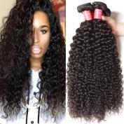 Longqi Malaysian Curly Hair 3 Bundles 16 18 50cm 6A Grade Virgin Human Hair Extensions Natural Colour 95-100g/pc