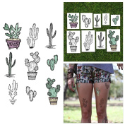 Tattify Pastel Desert Cactus Temporary Tattoos - Get Pricked (Set of 18) - Premium Quality, Long Lasting and Waterproof