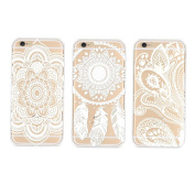 Tenworld 3PC Henna Floral Paisley Flower Clear Hard Case Cover Skin for iPhone 6 12cm /iPhone 6 Plus 14cm
