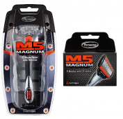 Personna M5 Magnum 5 Razor with Trimmer + M5 Magnum 5 Refill Razor Blade Cartridges, 4 ct. + Makeup Blender