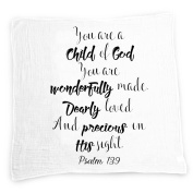 Child Of God Baby Swaddle Blanket by Ocean Drop Designs - Muslin Swaddle Wrap with Scripture Quote Psalm 139 for Baby Shower, Christening Gift or Baptism Gift - Receiving Blanket, Privacy Throw