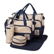 5 Pcs Set Multifunctional Mummy Tote Bag Waterproof Nursing Messenger Bag Baby Boom Nappy Nappy Changing Pad Travel Shoulder Handbag Milk Bottle Holder Case Organiser