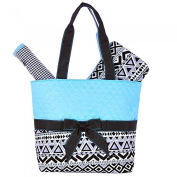 Rosenblue Quilted Nappy Bag Set with Changing Mat, Aztec Print Blue Black
