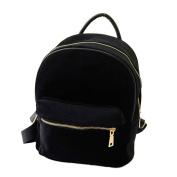 Aritone Women Gold Velvet Small Rucksack Backpack School Book Shoulder Bag