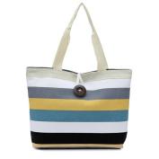 Aritone Lady Coloured stripes Shopping Handbag Shoulder Canvas Bag Tote Purse
