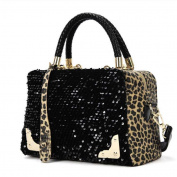 Aritone Women Sequin Leopard Messenger Cross Body Bag Shoulder Bag Handbag