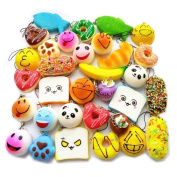 iPartshop 20pcs Random Squishy Charms Kawaii Soft Foods Squishies Cake/Panda/Bread/Buns Phone Charm Key Strap, Medium Mini Size