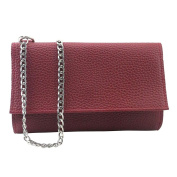 Xjp Casual PU Leather Shoulder Bag Solid Colour Crossbody with Chain Shoulder Straps
