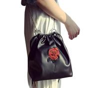 Xjp Women PU Leather Shoulder Bag Crossbody Handbag with Roses Pattern