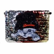 AiSi Women's Sparkly Sequin Clutch Bag Kitty Wristlet Bag Messenger Bag Shoulder Handbag