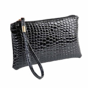 Xjp Women's Wristlets Leather Clutch Handbag Bag Purse Black