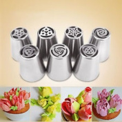 7PCS Stainless Steel Tulip Icing Piping Nozzles Pastry Decorating Tips Cake Cupcake Decorator Rose Kitchen Accessories