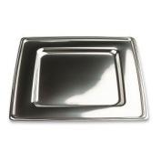 4 Square Disposable Plastic Underplate, Silver, 30 cm