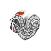 Soufeel Lovely Cock Crystal Heart Charms 925 Sterling Silver Fit European Bracelets and Necklaces