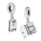 """925 Sterling Silver Dangling """"We Love You / Happy Mother's Day"""" Opening Card Charm Bead Fit Pandora Charms Bracelets-Shining Charm"""