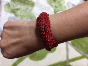 Friendship(Kumihimo) bracelet(big red) of Hida(Japanese ).[Your Name.] holy place, the handcraft of the craftsman of Hida.