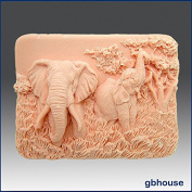 Enchanting Elephants -Detail of High Relief Sculpture - Soap/plaster/polymer/clay/cold Porcelain Silicone Mould