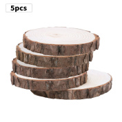 Fuhaieec 5pcs 14cm - 18cm Unfinished Natural Wood Slices Circles with Tree Bark Log Discs for DIY Craft Woodburning Christmas Rustic Wedding Ornaments