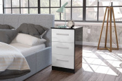 Happy Beds Lynx 3 Drawer Bedside Table MDP Wooden Bedroom Furniture Storage Black and White