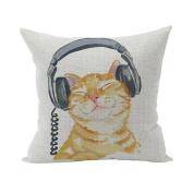Nunubee Cute Cushion Cover Linen Square Home Decor Pillow Case Decorative Home Accessories Listening Cat