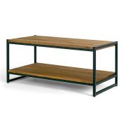 Glamour Home Ailis Brown Pine Wood Black Metal Frame Coffee Table
