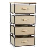 4-Layered Storage Bin Cabinet Drawer for Clothing, Underwear, Documents, Household Objects - Brown -