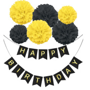 Happy Birthday Banner Bunting Kit, Wartoon Happy Birthday Hanging Party Decorations Banner flags + 6 Garlands Tissue Paper Pom Poms flowers Ball for Birthday Party Decorations