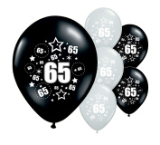 8 x 65th BIRTHDAY /AGE 65 BLACK AND SILVER 30cm HELIUM QUALITY PERALISED PARTY BALLOONS