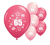 8 x 65th BIRTHDAY BALLOONS /AGE 65 PINK AND LIGHT PINK MIX 30cm HELIUM QUALITY PERALISED PARTY BALLOONS