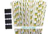 Outside the Box Papers Pineapple Theme Paper Straws 20cm 100 Pack Yellow, Green White