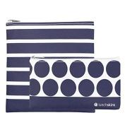 Lunchskins 2 Pack Geometric Zippered Bag Set, Blue