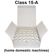 Class 15 - Size A, Pre-wound bobbins for home machines , White prewound , Polyester, 60 wt., SuperB, Box of 144