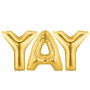 YAY Alphabet Word Balloons - Gold Foil Celebration Letters 100cm