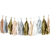 Talking Tables Decadent Decor Blush Tassel Banner with 20 Pennants for a Wedding or Birthday, White/Gold/Pink/Grey