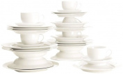 Maxwell & Williams P208 Round Dinner Set Crockery Set 30 Pieces with Edge, Coffee Service Porcelain in Gift Box