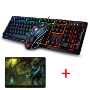 UrChoiceLtd® 2017 K-13 Rainbow Backlit Multimedia Ergonomic Usb Gaming Keyboard + Wired 2400DPI 4 Buttons Optical LED Usb Gaming Mouse + WOW The Black Temple Gaming Mouse Pad 220*180*5mm Standard Size