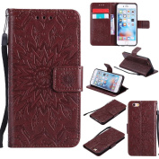 iPhone 6 / iPhone 6S 12cm Case, Dfly Premium Soft PU Leather Embossed Mandala Design Kickstand Card Holder Slot Slim Flip Protective Wallet Cover for iPhone 6 / iPhone 6S 12cm Case, Brown