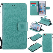 iPhone 6 / iPhone 6S 12cm Case, Dfly Premium Soft PU Leather Embossed Mandala Design Kickstand Card Holder Slot Slim Flip Protective Wallet Cover for iPhone 6 / iPhone 6S 12cm Case, Green