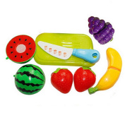 Livecity Kitchen Plastic Fruit Vegetable Food Pretend Toy Reusable Role Play Cutting Set