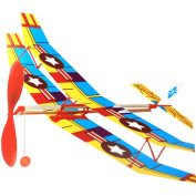 HuntGold DIY Plane Rubber Band Powered Biplane Aircraft Baby Kids Outdoor Assemble Toy Kit Random Colour
