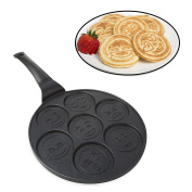 Emoji Pancake Pan - Smiley Face Pan Cake Griddle with 7 Unique Flapjack Faces- 100% Non-stick