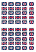 50 British Union Jack Flag Edible PREMIUM THICKNESS SWEETENED VANILLA, Wafer Rice Paper Cupcake Toppers/Decorations