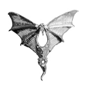 Real Sterling silver 925 Big Gothic Vampire Prince Dracula Bat Silver charm