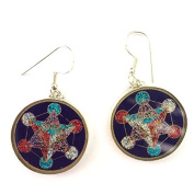 Metatron's Cube Sacred Geometry Earrings (lapis lazuli with red) in sterling silver by Scalar Heart Collection