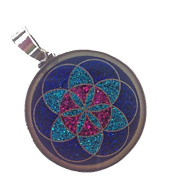 Seed of Life Sacred Geometry Pendant in lapis lazuli & sterling silver by Scalar Heart Collection