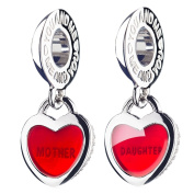ATHENAIE 925 Silver Plated Platinum with Pave Clear CZ Heart Lock Love Mother Love Daughter Pendant