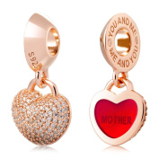 ATHENAIE 925 Silver Plated Rose Gold with Pave Clear CZ Heart Lock Love Mother Pendant Charm Beads
