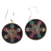 Metatron's Cube Sacred Geometry Earrings (black tourmaline) in sterling silver by Scalar Heart Collection